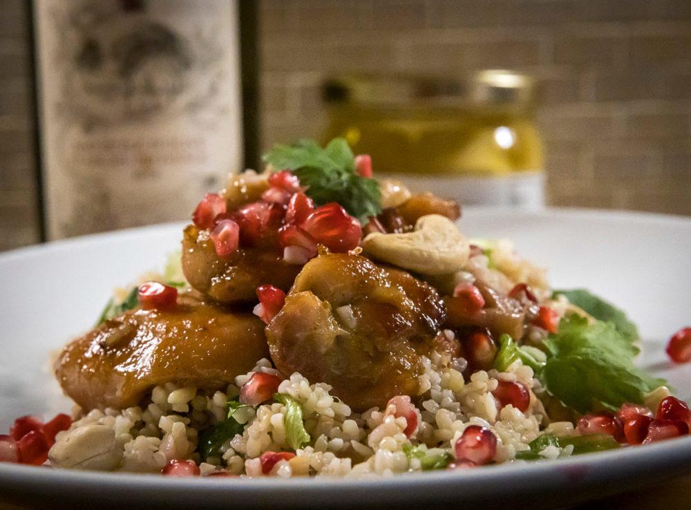 Viikunamarinoitu kana ja bulgur salaatti