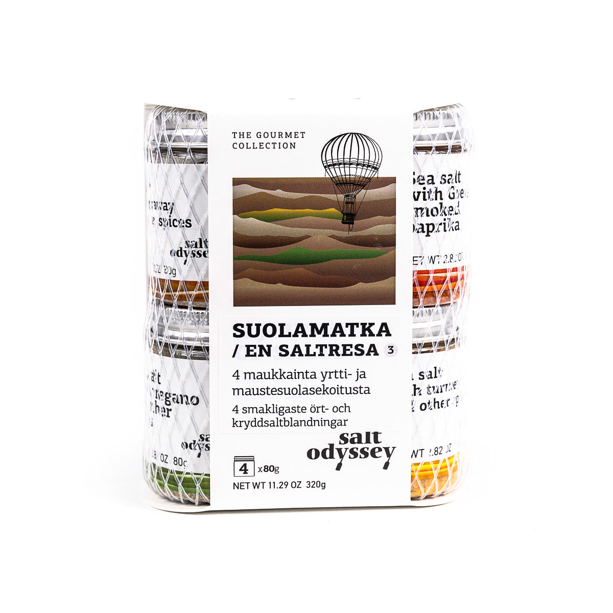 Kreikkalainen merisuolapakkaus 4 parasta mauste- ja yrttisuolaa 4x 80g